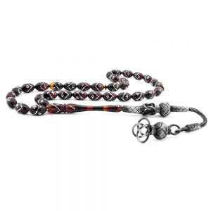 Silver Ornament Brown Amber Prayer Beads