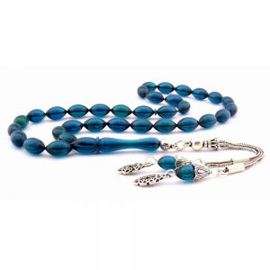 Blue Amber Oval Prayer Beads