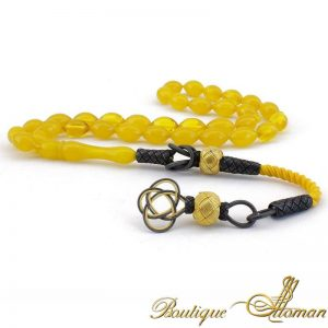 Yellow Amber Oval Prayer Beads